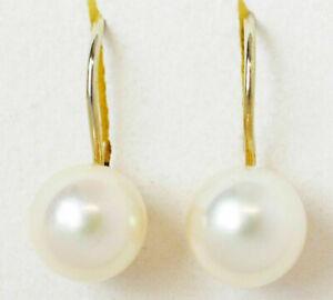 Damen-Ohrringe-14-Karat-585-Gold-2-g-Gelbgold-Zuchtperlen-Perlen