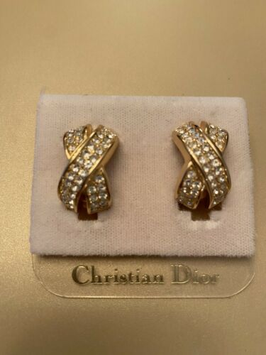 Vintage Christian Dior Goldtone Rhinestone Clip Ea