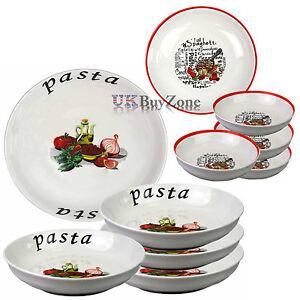 Large 5 Piece Pasta Bowls Plates Dinner Set Spaghetti Salad Dish ...
