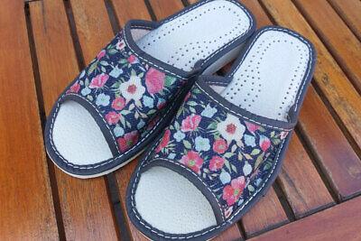 1 Paia Pantofole Lino-pantofole, Estate Clogs, Flowers Nuovo Taglia 36-41 - S20-mer Latschen,flowers Neu Gr.36-41 - S20 It-it Mostra Il Titolo Originale