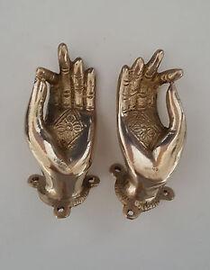 Image is loading Vitarka-Mudra-Buddha-Hands-Brass-Door-Handle-3- & Vitarka Mudra Buddha Hands Brass Door Handle 3.5\