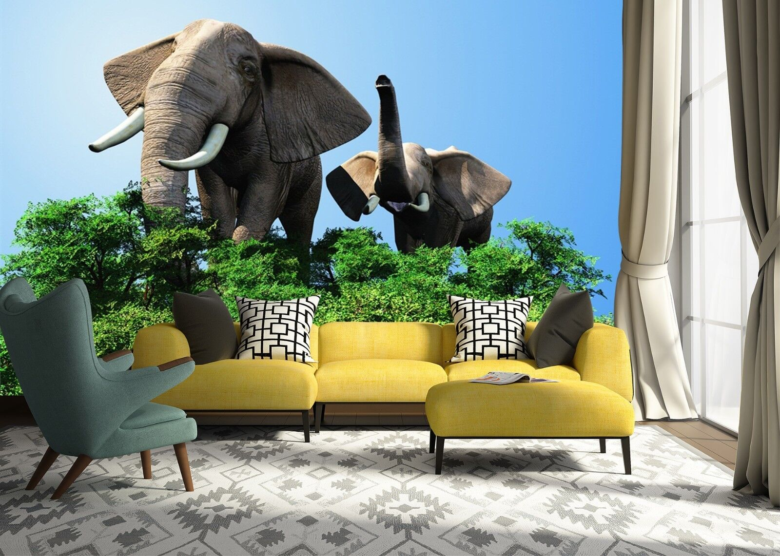 3D Elefant Blätter 6 Tapete Tapeten Mauer Foto Familie Tapete Wandgemälde Summer