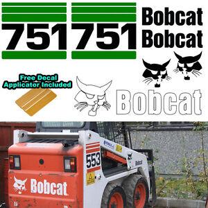 Details about Bobcat 751 Skid Steer Set Vinyl Decal Sticker Sign 7 PC SET +  DECAL APPLICATOR