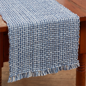 Park Designs Tweed Denim 54l Table Runner Navy Blue White