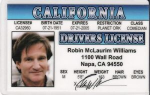 Drivers Robin Williams Ebay d I Novelty Card Fake License