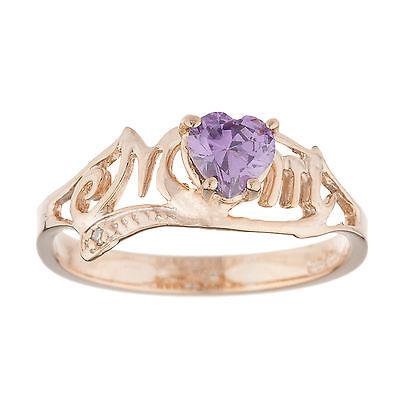 14Kt Rose Gold Plated Garnet /& Diamond Heart Mom Bracelet
