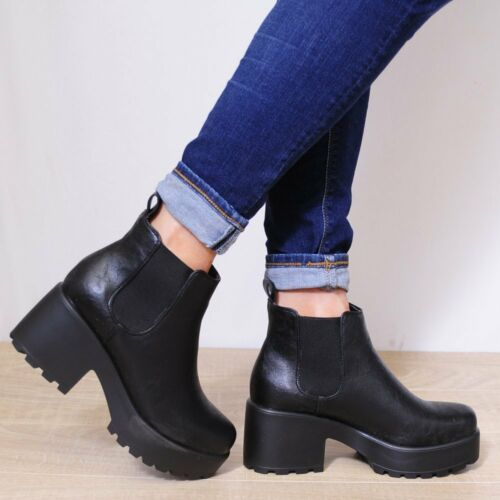 CLEATED PLATFORMS CHUNKY CHELSEA BLOCK HEELED ANKLE BOOTS SHOES SIZE 3-8