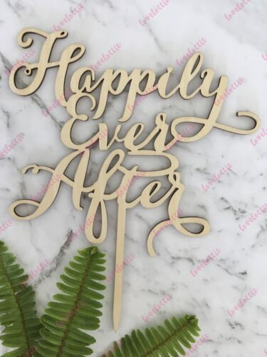Happily Ever After Rustic Wood Engagement Wedding Cake Topper