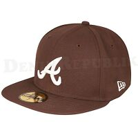 New Era 59FIFTY ATLANTA BRAVES - BROWN White Cap MLB Baseball Fitted Hat Walnut