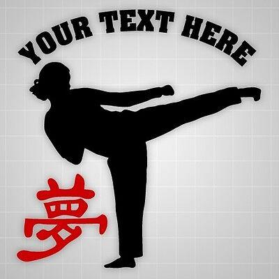 Taekwondo silhouette Personalized decal,Success hieroglyph wall gym vinyl decal