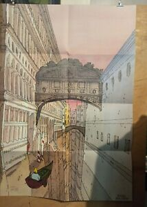 Affiche-Moebius-Jean-Giraud-Venise-Celeste-174-300-signee-100x68-cm-pliee-en-8