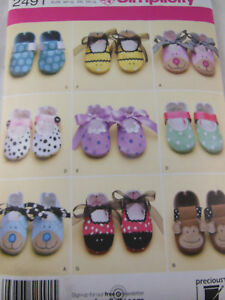 51a55ab2213 Simplicity 2491 Baby Shoes Booties Monkey Bear Dog Pattern all sizes ...