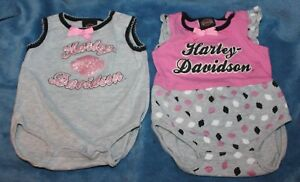 Set-of-Harley-Davidson-Infant-Size-0-3-Months-Summer-One-Piece-Rompers-Pink-Gray
