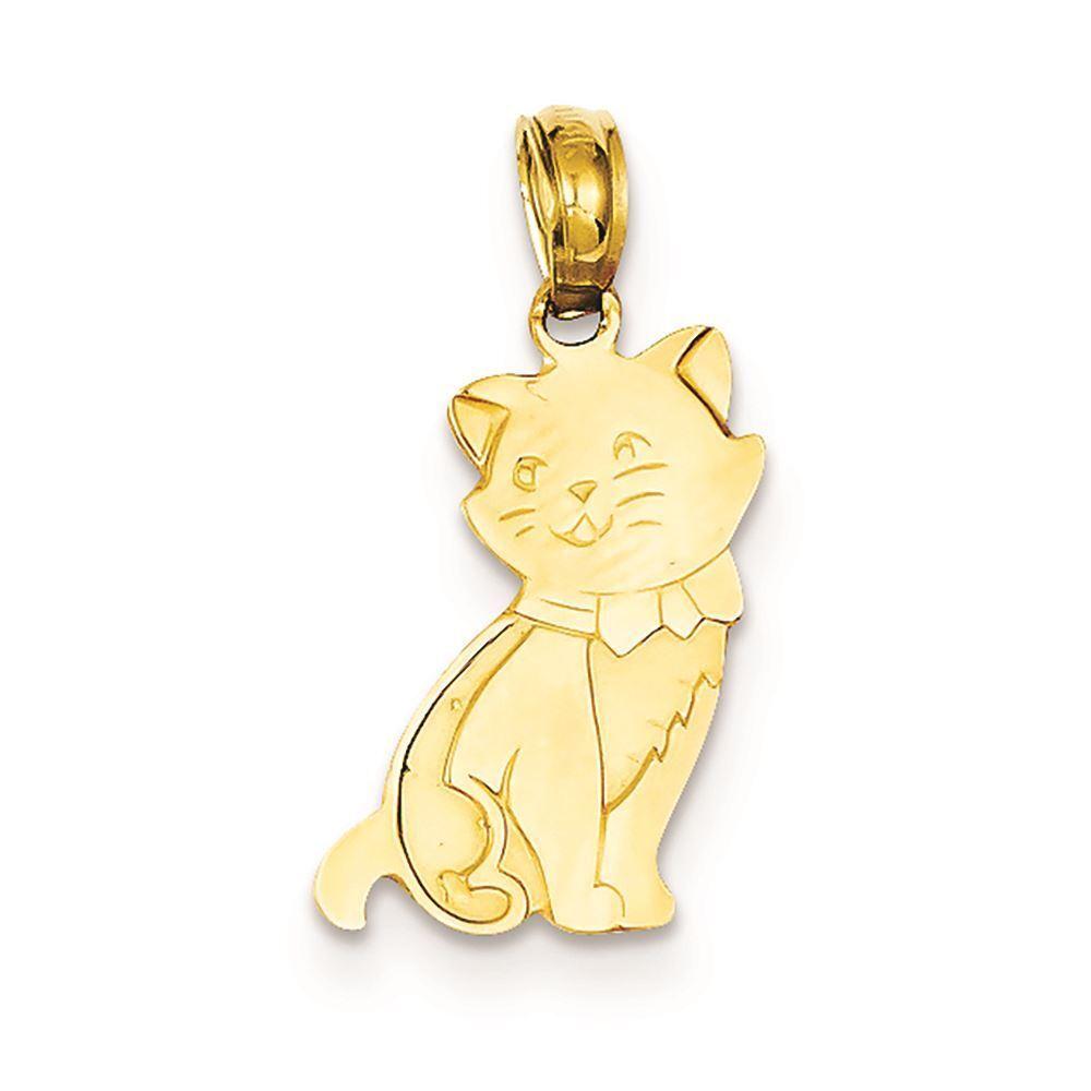 14K Yellow gold Sitting Cat Charm Pendant MSRP  206