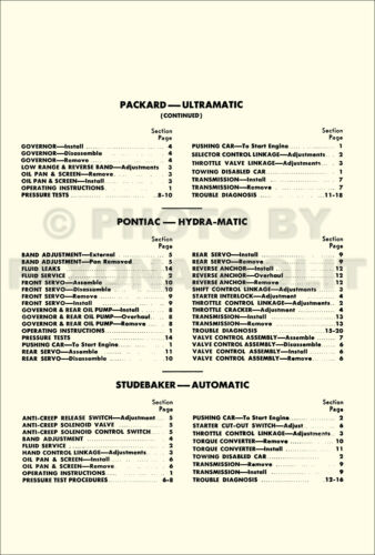 1941-1950 Thompson Automatic Transmission Repair and Tune-Up Manual Auto Shop
