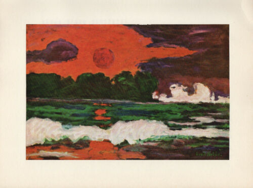 "COLOR Offset Lithograph 1959 Vintage EMIL NOLDE /""TROPICAL SUN/"" BEACH SUNSET WOW"
