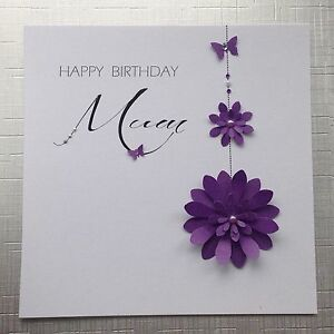 Image Is Loading PERSONALISED Handmade BIRTHDAY Card Flowers MUM NAN