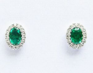 18Carat-White-Gold-Natural-Emerald-amp-Diamonds-Oval-Cluster-Earrings-1-00-carats