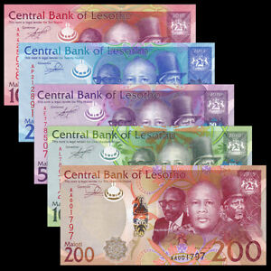 Lesotho-Set-5-PCS-10-20-50-100-200-Maloti-2010-2015-Random-Year-UNC