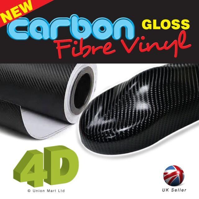 1520mm x 1000mm Black 4D Carbon Fibre Vinyl Wrap  Sticker Bubble Free