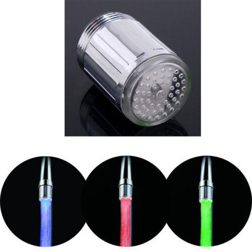 7 Farben Licht Farbwechsel LED Wasserhahn Wasser Armatur Aufsatz Mode NEU