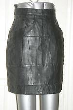 BLACK Womens Soft REAL LEATHER Patchwork MINI SKIRT uk10 us6 eu36 W w25ins w64cm