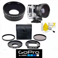 Gopro Hero5 Black Wide Angle + Fisheye Macro Lens + Uv/cpl 5pc Kit With Adapter