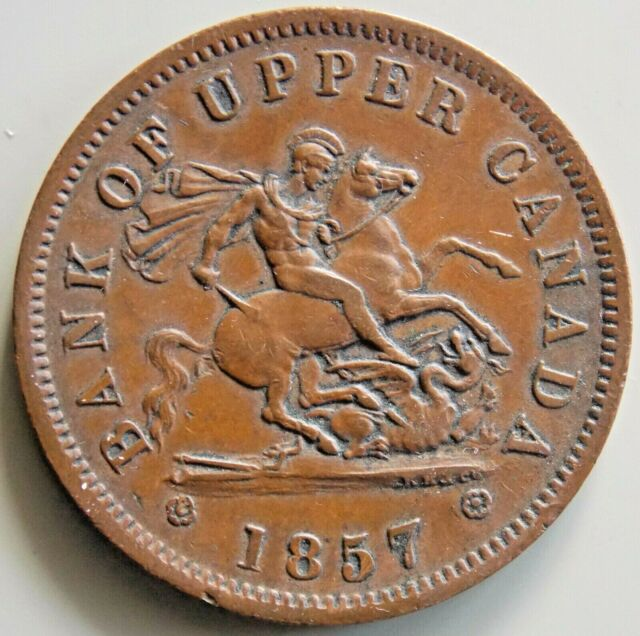 1857 PC-6D  Province Of Canada Canadian - 1 Penny  Bank Of Upper Canada Token