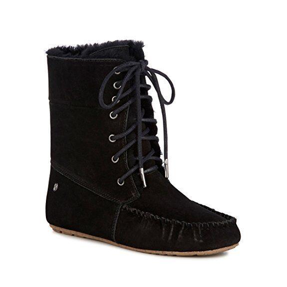EMU Australia Womens Brooklyn Sheepskin Lace Up Boots Black Black Black US 9 NEW IN BOX ee9be0