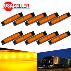 10X Yellow Car Bus Van Truck Trailer Side Marker Indicators Lights Sealed 6LED
