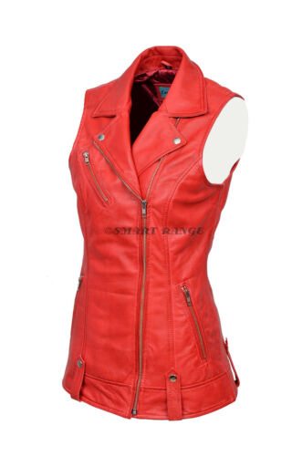 Motorcycle Waistcoat Punk Real Leather Biker Ladies Napa Red Style Steam 6385 AqwtfxWBn