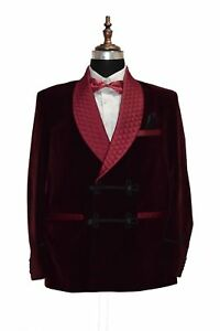 d99f42a7de2 Image is loading Mens-Burgundy-Velvet-Quilted-Smoking-Jacket-Robe-Evening-