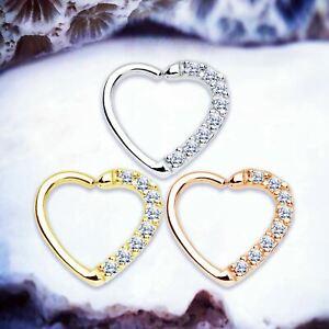BINKY Crystal CBR Heart Daith Piercing Cartilage Hoop Helix Earring Tragus Ring
