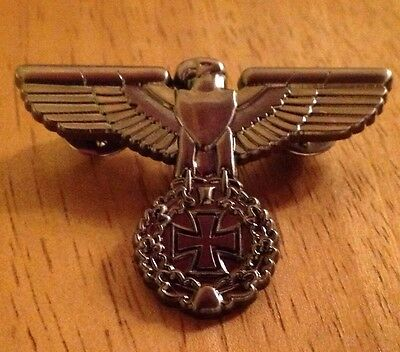 Biker pin badge, Hells Angels, motorcycle , Maltese Cross  MCC Rally 81 support