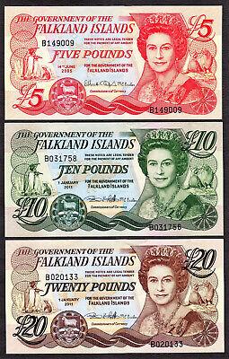 5;10 pounds 2005-2011 P-17-18 UNC QEII SET Falkland Islands