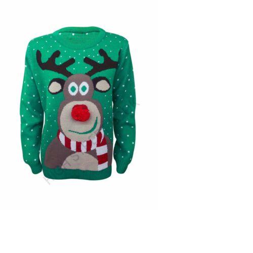Unisex ladies Christmas Xmas Rudolph Novelty Classic 3D Pom Pom Jumper