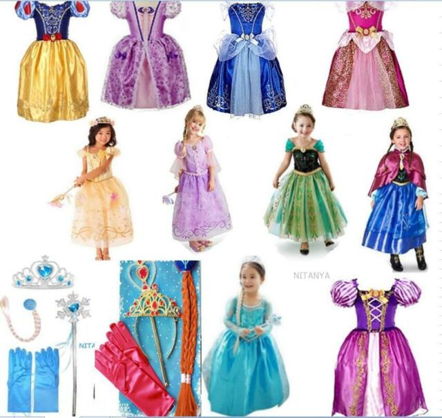 Robe Déguisement Costume La Reine des Neiges Frozen Elsa Anna Enfant &4essayage