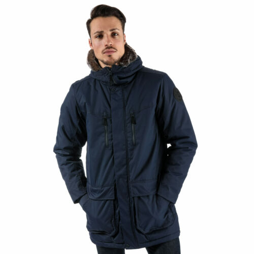 Mens Bench Wadded Fur Parka Jacket In Navy Zip Fastening With Hook And Loop