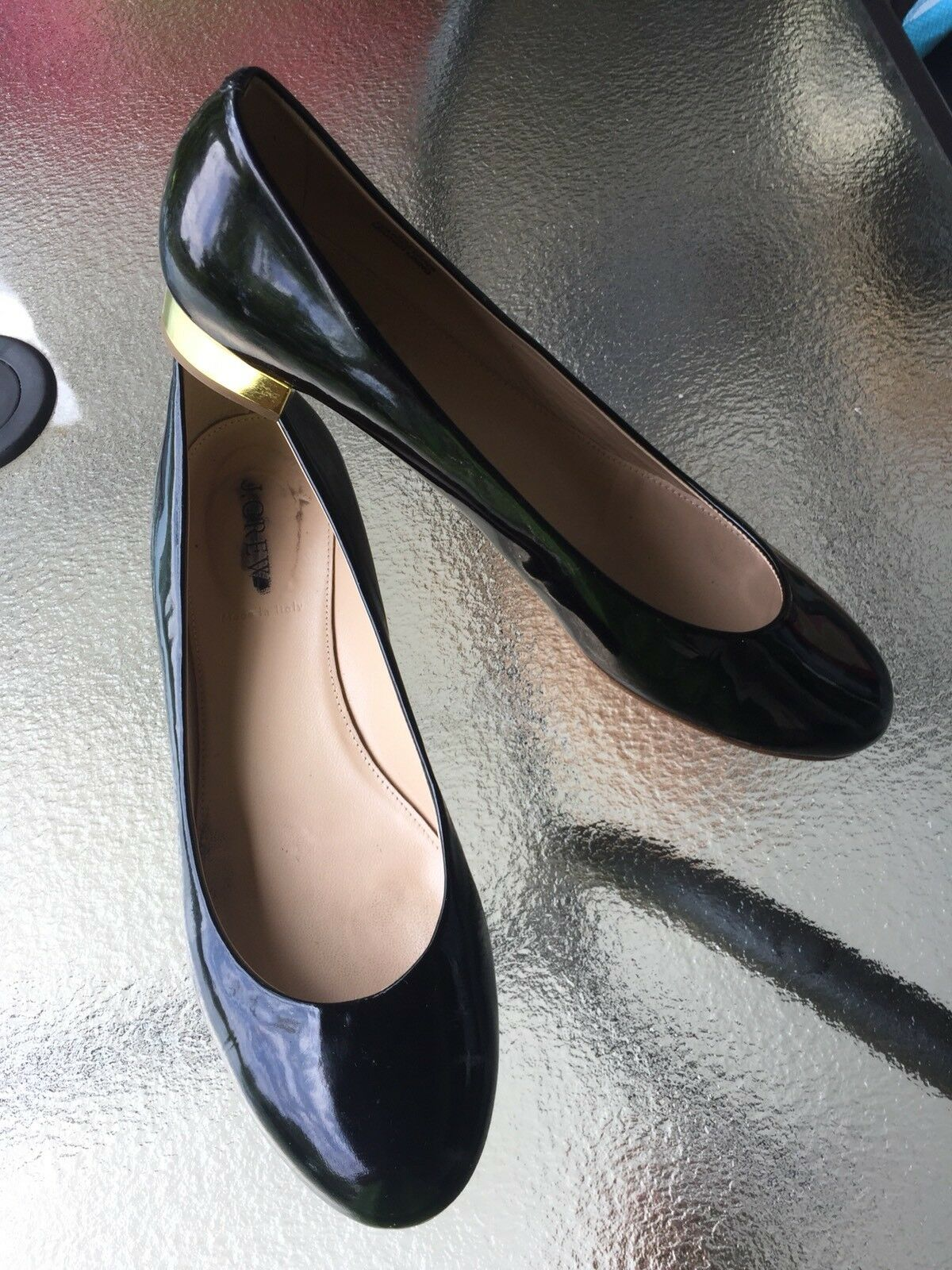 J.Crew BLACK PATENT LEATHER  FLATS US SIZE 8,5M MADE IN ITALY