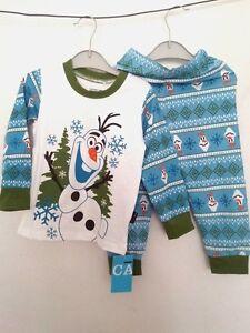 Boys Girls Disney Frozen Olaf blue and Green Pajamas, Sleepwear, to fit 5 or 6