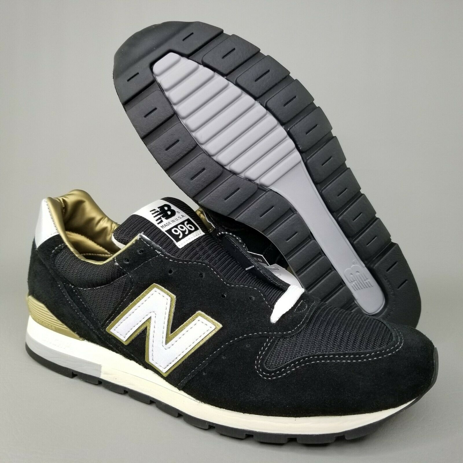 New Balance 996 Limited Suede Running shoes SZ 11.5 Mens Black gold Made in USA