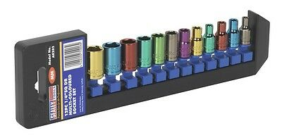 SEALEY TOOLS  MULTI COLOURED SOCKETS 12Pce SET 1/4 DRIVE 4mm > 13mm WARRANTY