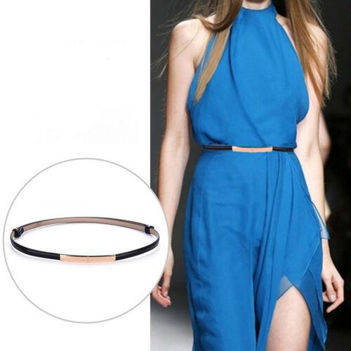 Women/'s Patent Leather Metal Buckle Skinny Waist Belt Adjustable Length