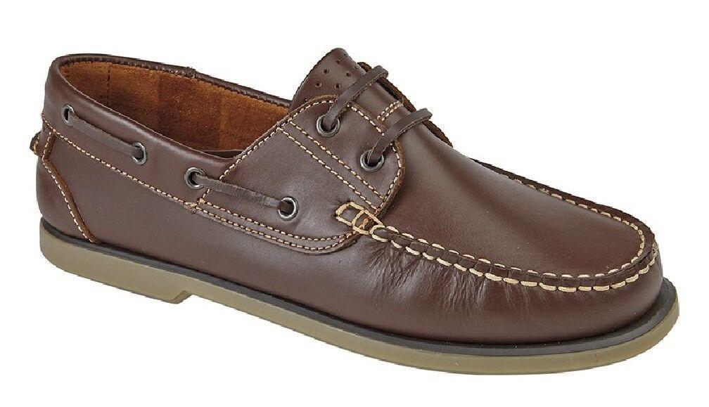Mens Dek M551 Smart Leather Moccasin Boat zapatos marrón Nubuck Leather