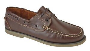 Dek Mocasín De Cuero Zapatos Náuticos Multi 4 colores diferentes Calidad Superior Marrón Nu