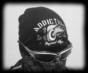 Biker-Mens-Embroidered-Knit-Beanie-Cap-Black-Motorcycle-Style-Cap-Hat-Wheel