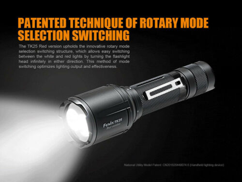 Battery Fenix TK25 Red Cree XP-G2 S3 /& XP-E2 Red LED's Flashlight Charger
