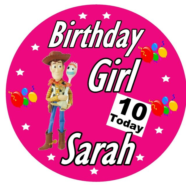 PERSONALISED TOY STORY BIRTHDAY GIRL BADGE, ANY NAME AND AGE - PARTY / GIFTS