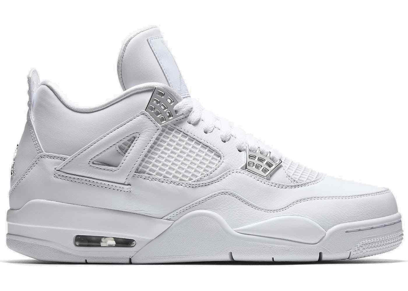Mens Air Jordan 4 IV Pure Money White metallic Silver 308497-100 size 8-13