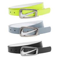 Nike Women's Swoosh Cutout Skinny Reversible Belt, Black Gray Yellow